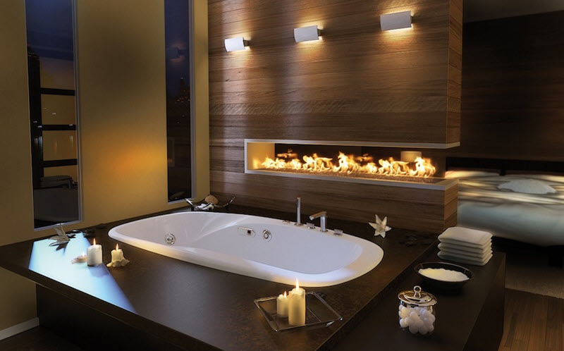 A Natural Stone Fireplace In A Bath